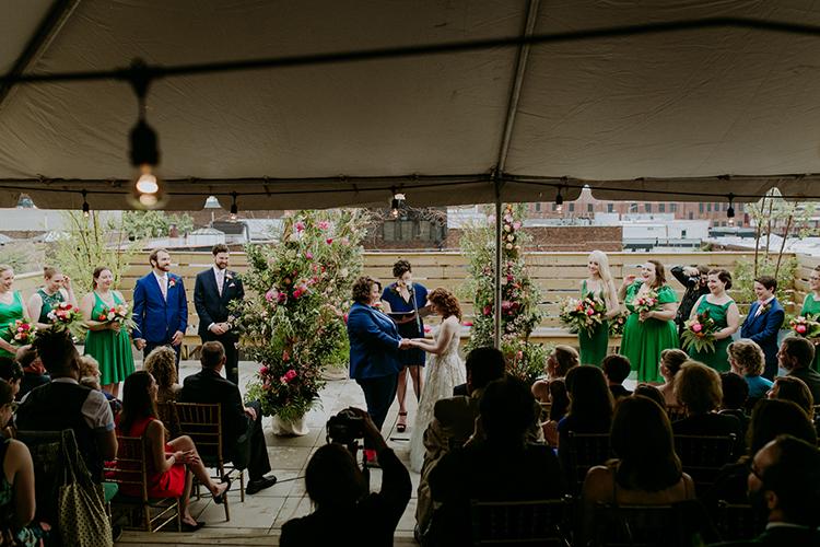 wedding ceremonies - photo by Amber Gress Photography http://ruffledblog.com/jurassic-park-meets-the-golden-girls-for-this-brooklyn-wedding