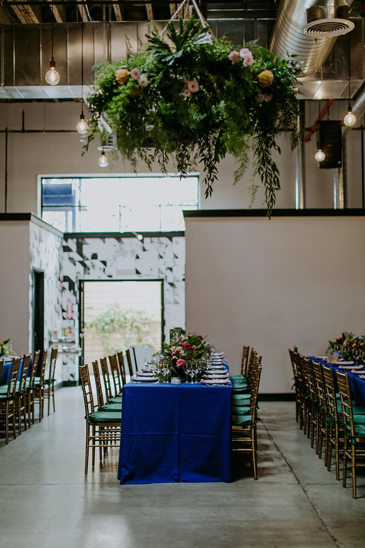 tropical inspired modern weddings - photo by Amber Gress Photography https://ruffledblog.com/jurassic-park-meets-the-golden-girls-for-this-brooklyn-wedding