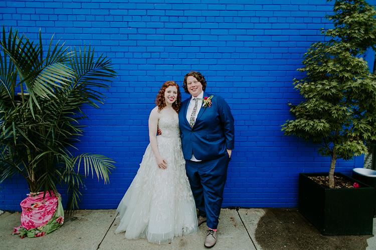 wedding portraits - photo by Amber Gress Photography http://ruffledblog.com/jurassic-park-meets-the-golden-girls-for-this-brooklyn-wedding