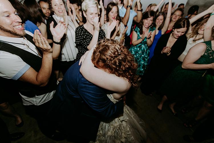 wedding dances - photo by Amber Gress Photography http://ruffledblog.com/jurassic-park-meets-the-golden-girls-for-this-brooklyn-wedding