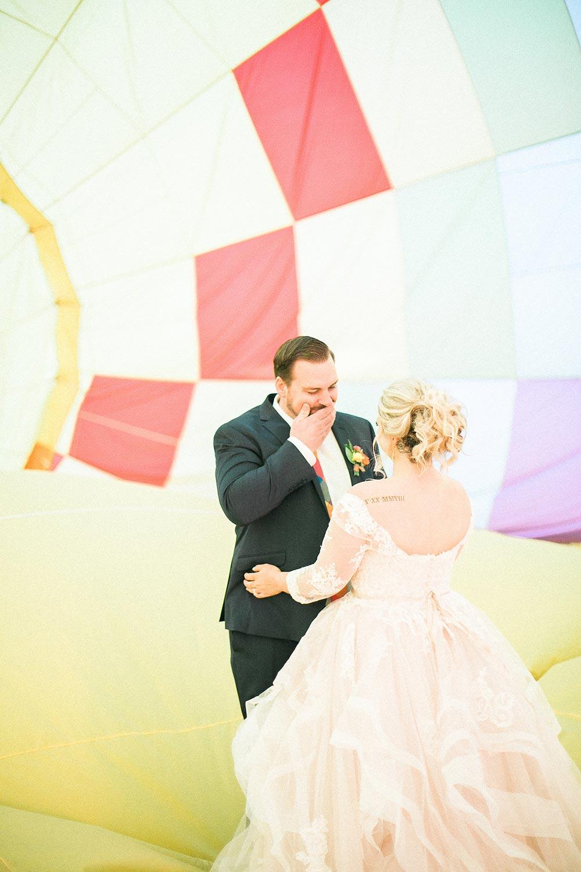 This Hot Air Balloon Elopement Looks Like Paradise Falls #colorfulweddinginspiration #uniqueelopementideas #hotairballoonwedding