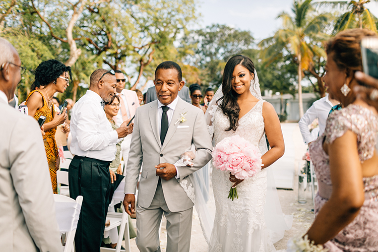 bridal processionals - photo by Finding Light Photography https://ruffledblog.com/key-largo-wedding-with-amazing-orchids-and-hydrangea