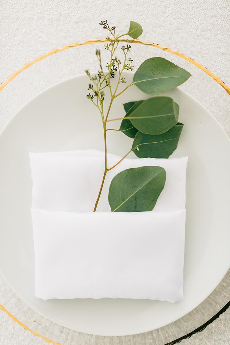 eucalyptus place settings - photo by Finding Light Photography https://ruffledblog.com/key-largo-wedding-with-amazing-orchids-and-hydrangea