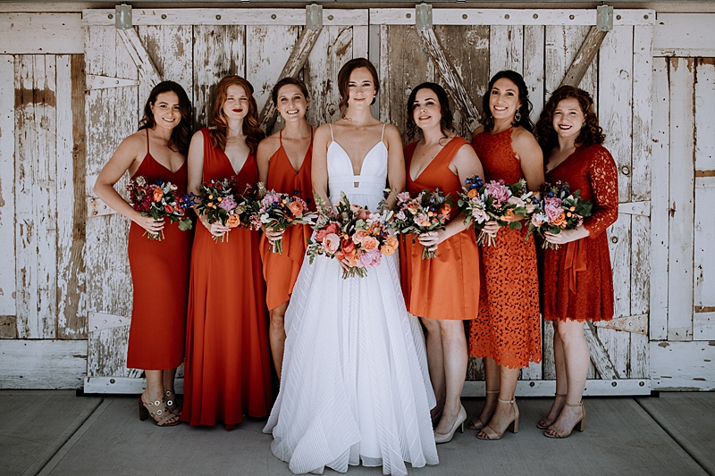 laid-back-los-poblanos-wedding-with-orange-bridesmaid-gowns-01