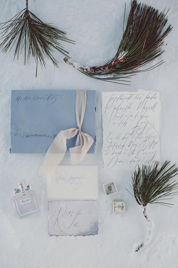 wedding stationery - photo by Lilly Red Creative https://ruffledblog.com/lake-tahoe-beach-wedding-inspiration