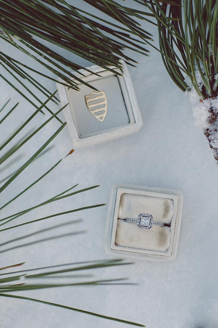 engagement rings - photo by Lilly Red Creative https://ruffledblog.com/lake-tahoe-beach-wedding-inspiration