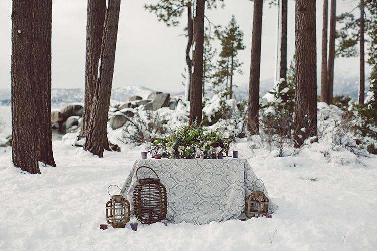 wedding reception tables - photo by Lilly Red Creative https://ruffledblog.com/lake-tahoe-beach-wedding-inspiration