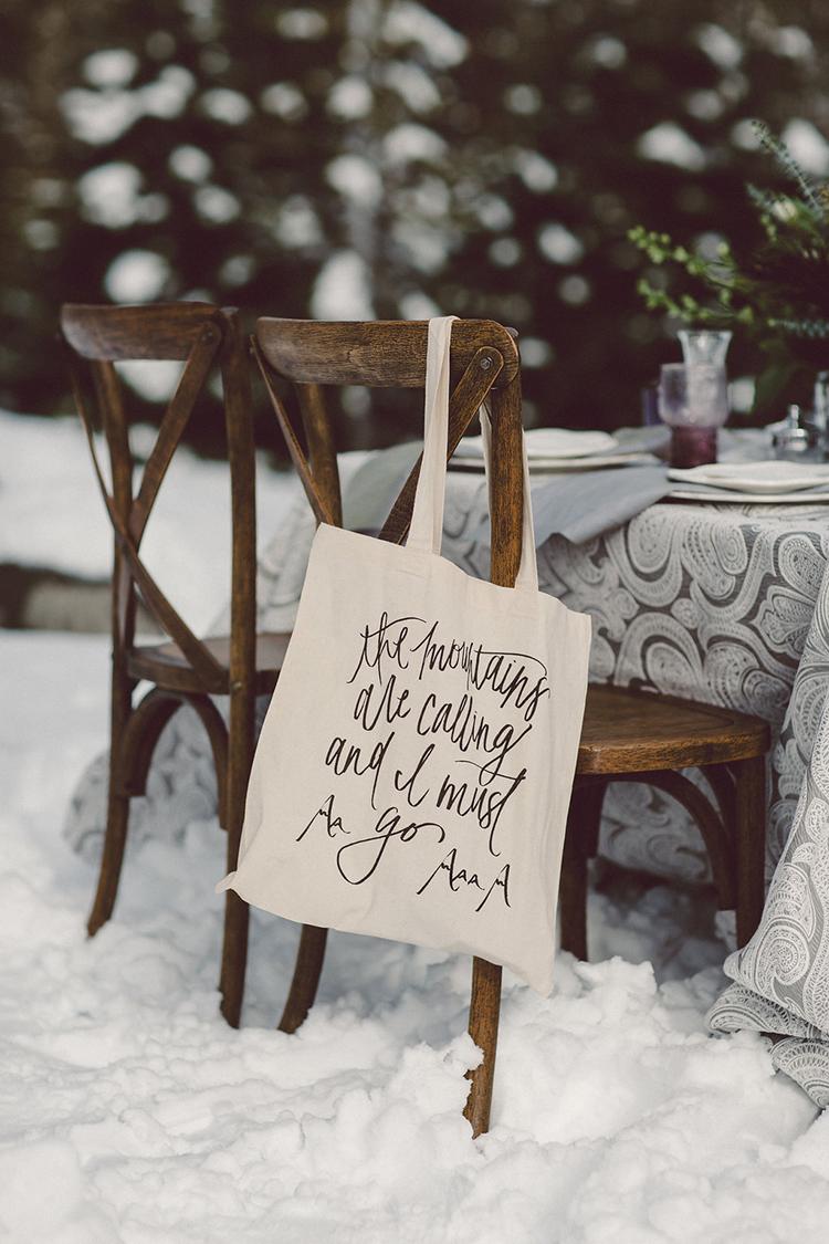 wedding favor bags - photo by Lilly Red Creative https://ruffledblog.com/lake-tahoe-beach-wedding-inspiration