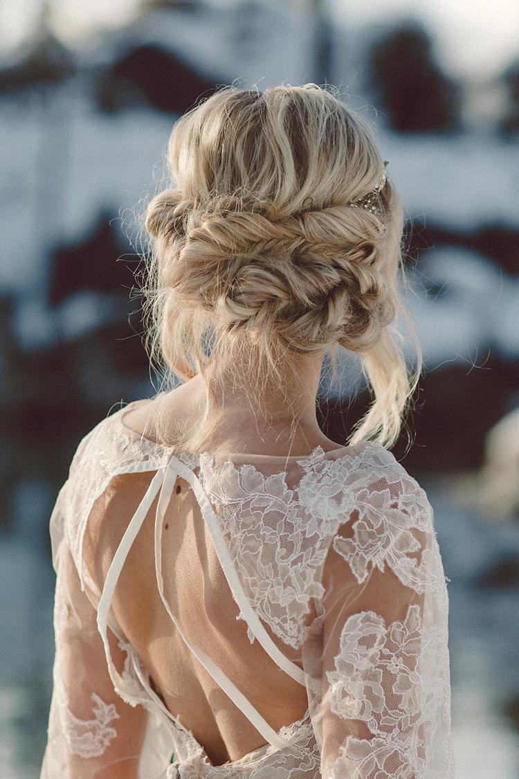 braided bridal hair - photo by Lilly Red Creative https://ruffledblog.com/lake-tahoe-beach-wedding-inspiration