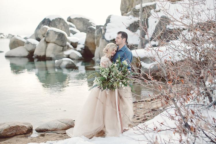 wedding portraits - photo by Lilly Red Creative https://ruffledblog.com/lake-tahoe-beach-wedding-inspiration
