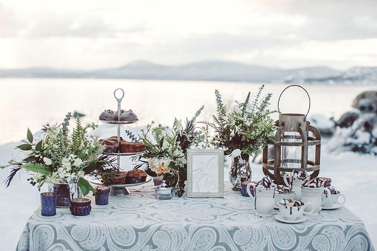 dessert tables - photo by Lilly Red Creative https://ruffledblog.com/lake-tahoe-beach-wedding-inspiration