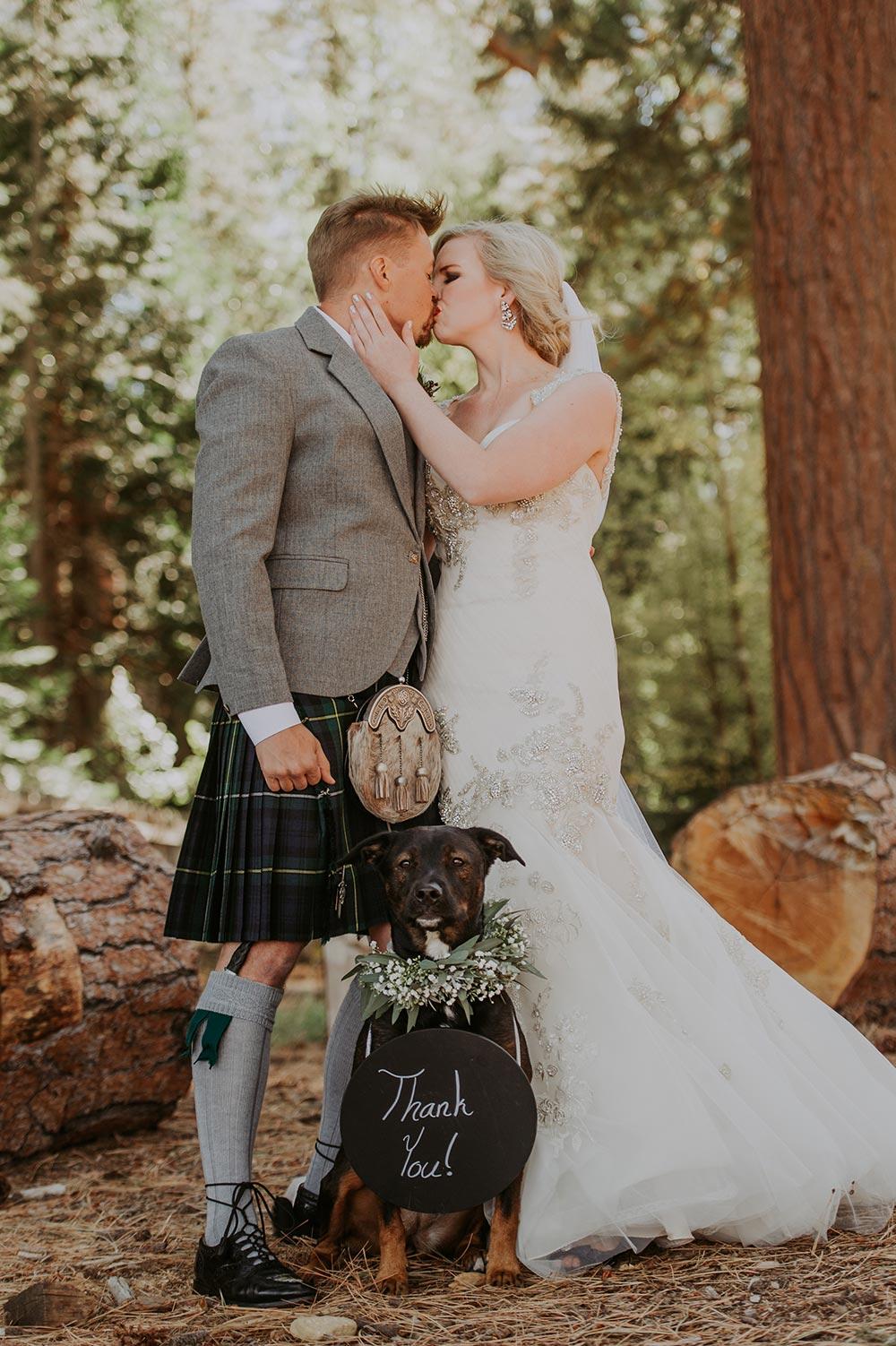 Woodsy Lake Tahoe Wedding #woodsywedding #weddingkilt #laketahoewedding #weddingvenueideas