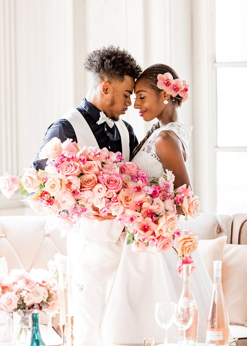 ombre pink bridal bouquet bride and groom