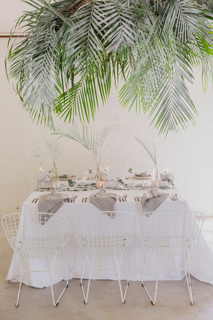 Leafy Industrial Wedding Inspiration with a Wire Table Runner - photo by Soda Photography https://ruffledblog.com/leafy-industrial-wedding-inspiration-with-a-wire-table-runner