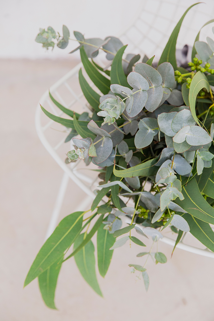 eucalyptus bouquets - photo by Soda Photography http://ruffledblog.com/leafy-industrial-wedding-inspiration-with-a-wire-table-runner