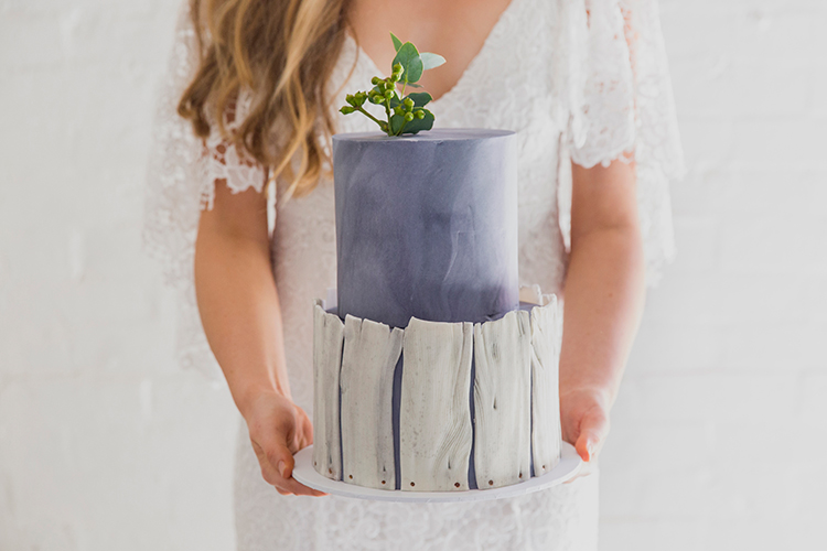 purple wedding cakes - photo by Soda Photography http://ruffledblog.com/leafy-industrial-wedding-inspiration-with-a-wire-table-runner