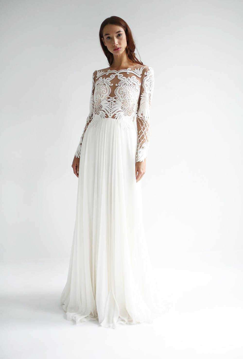 long sleeve wedding dress with sheer patterned bodice