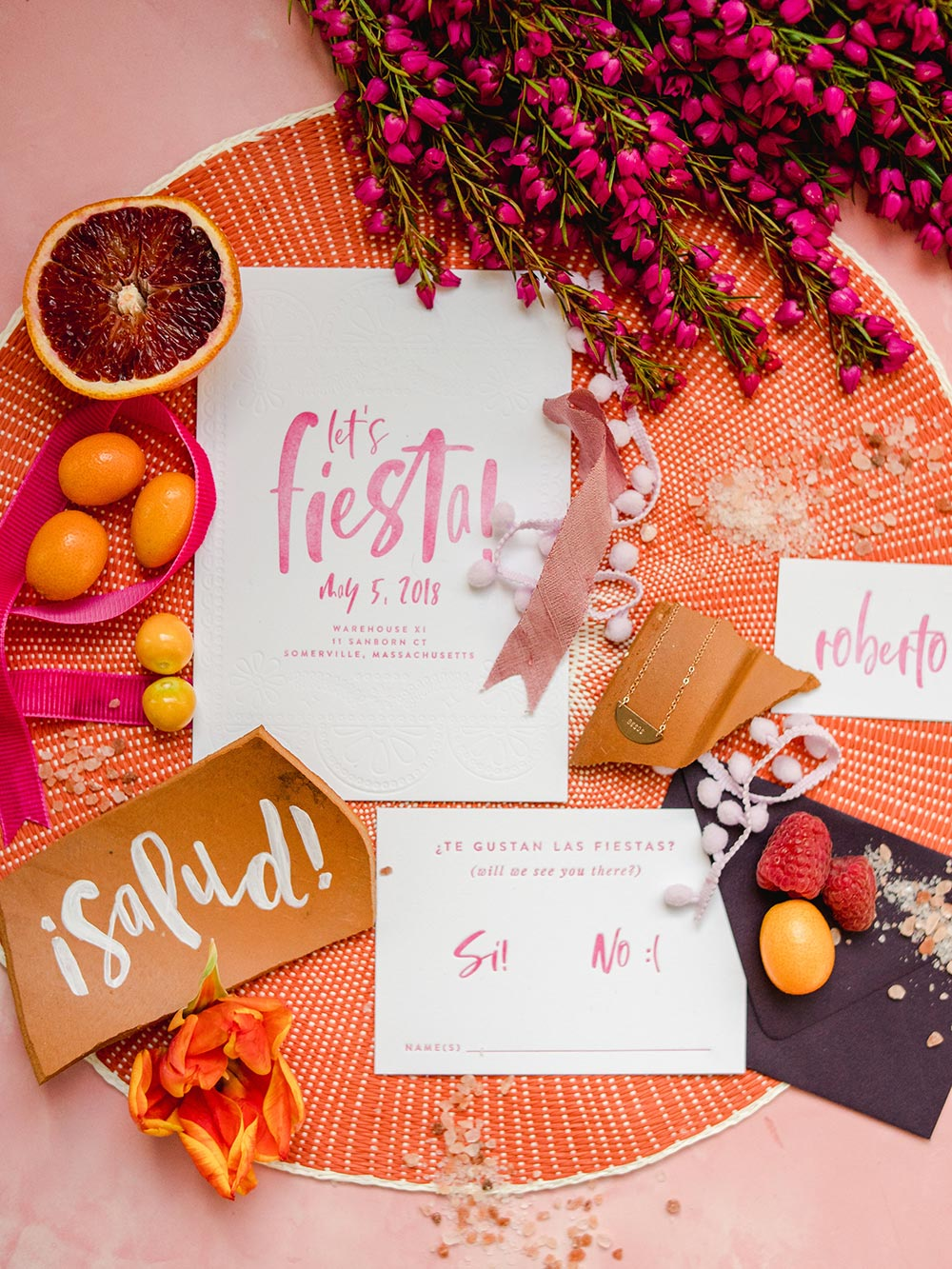 brush calligraphy wedding invitations with terracotta calligraphy