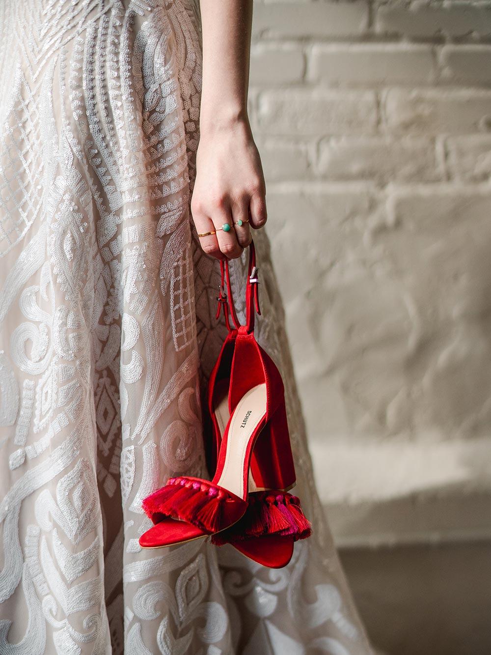 fun red wedding heels with tassel fringe
