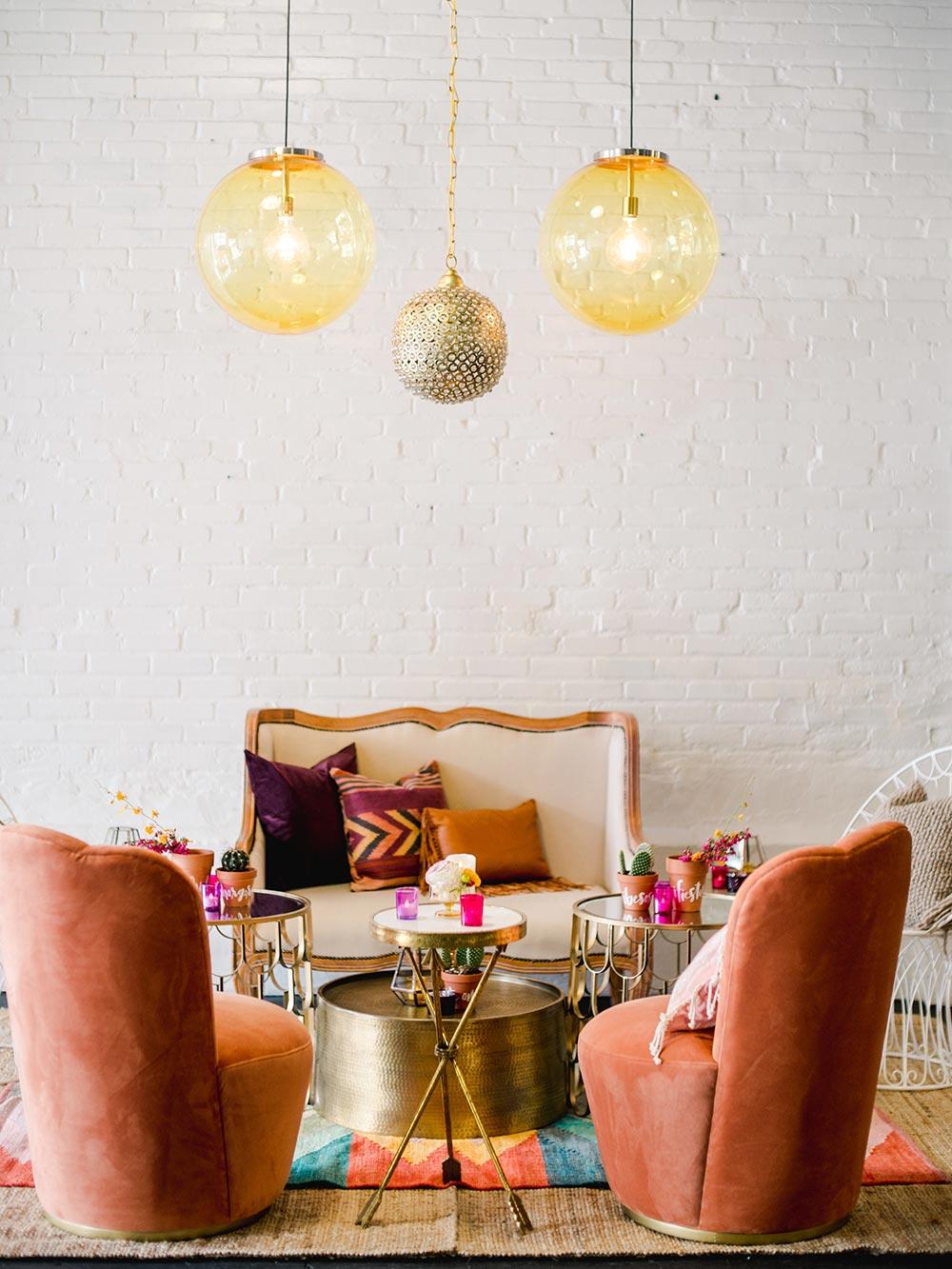 cozy lounge vignette warehouse wedding