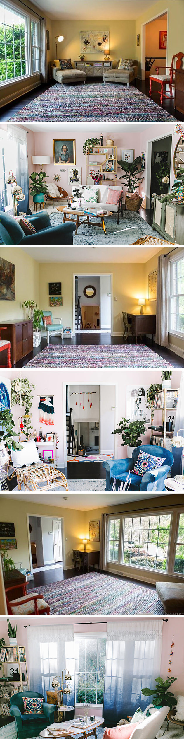 colorful bohemian eclectic living room makeover with Wayfair - before and after