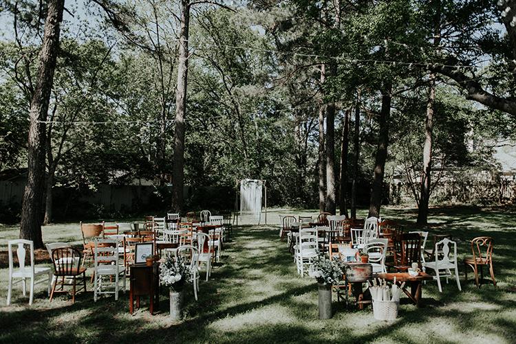 backyard wedding ceremonies - https://ruffledblog.com/lovingly-handcrafted-backyard-wedding-with-boho-details