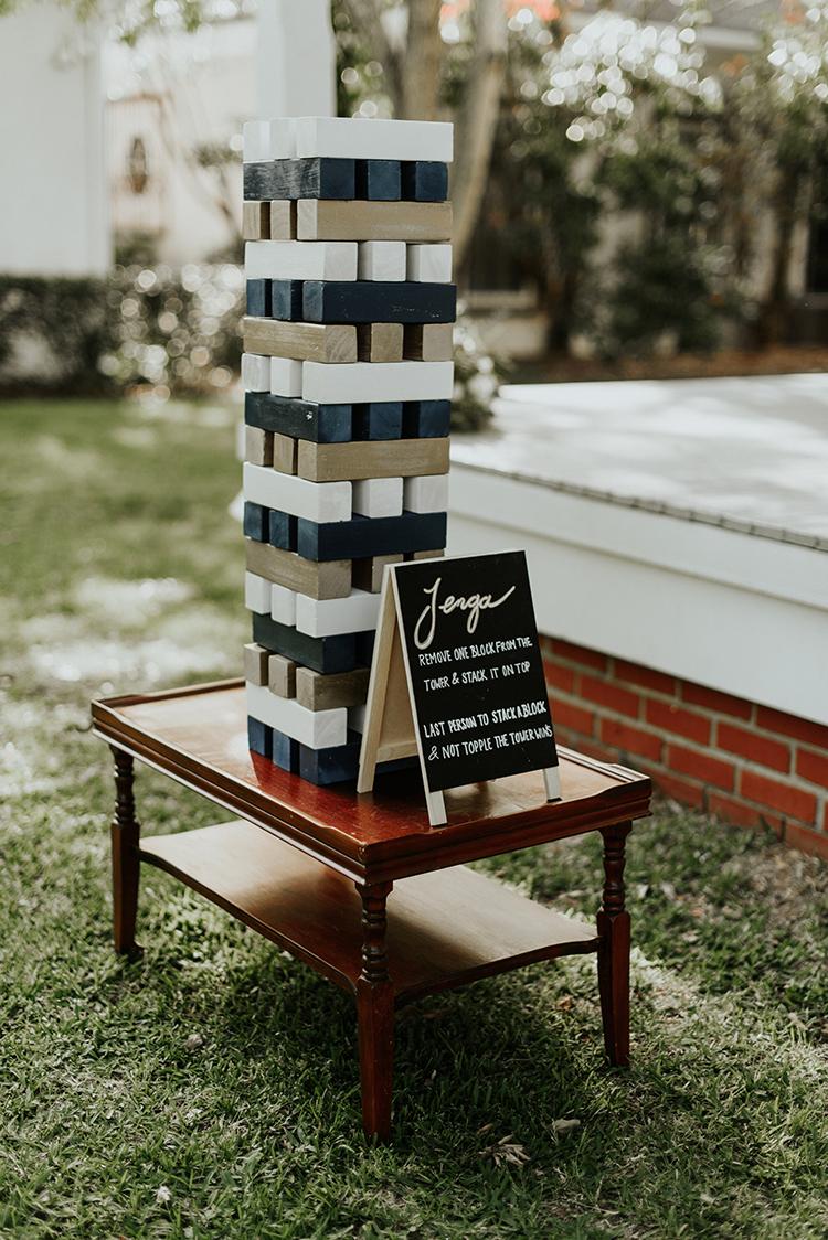 painted Jenga games - https://ruffledblog.com/lovingly-handcrafted-backyard-wedding-with-boho-details