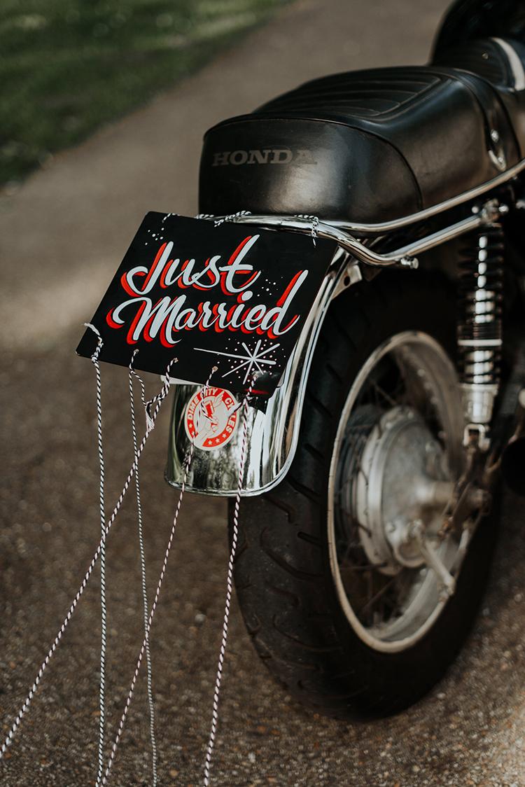 Just Married signs - https://ruffledblog.com/lovingly-handcrafted-backyard-wedding-with-boho-details