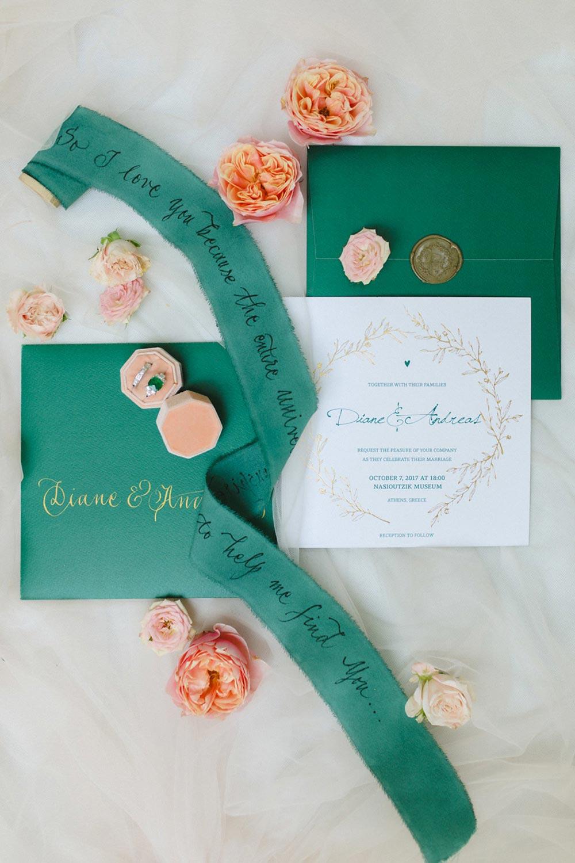 emerald and peach wedding invitation suite
