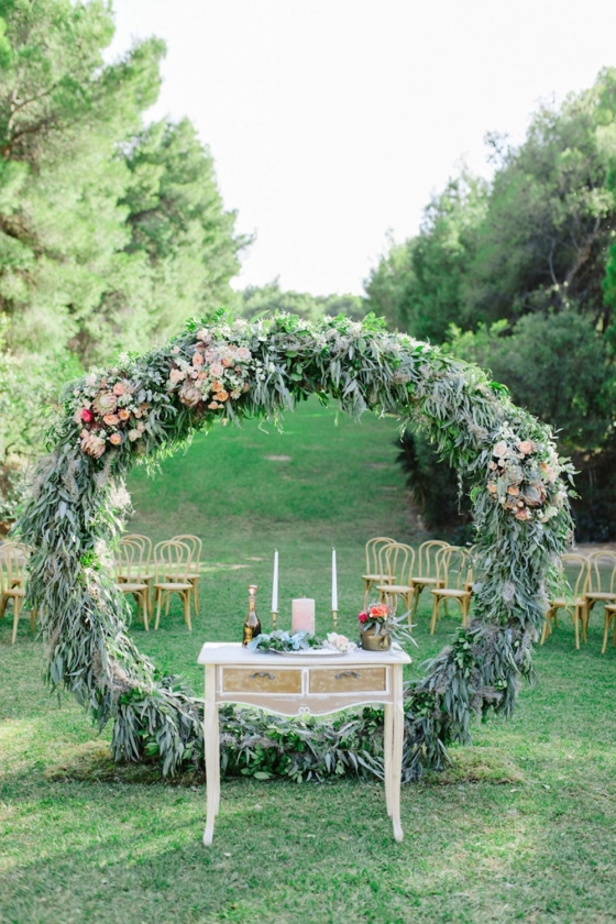 Romantic Wedding in Athens with a Giant Floral Wreath