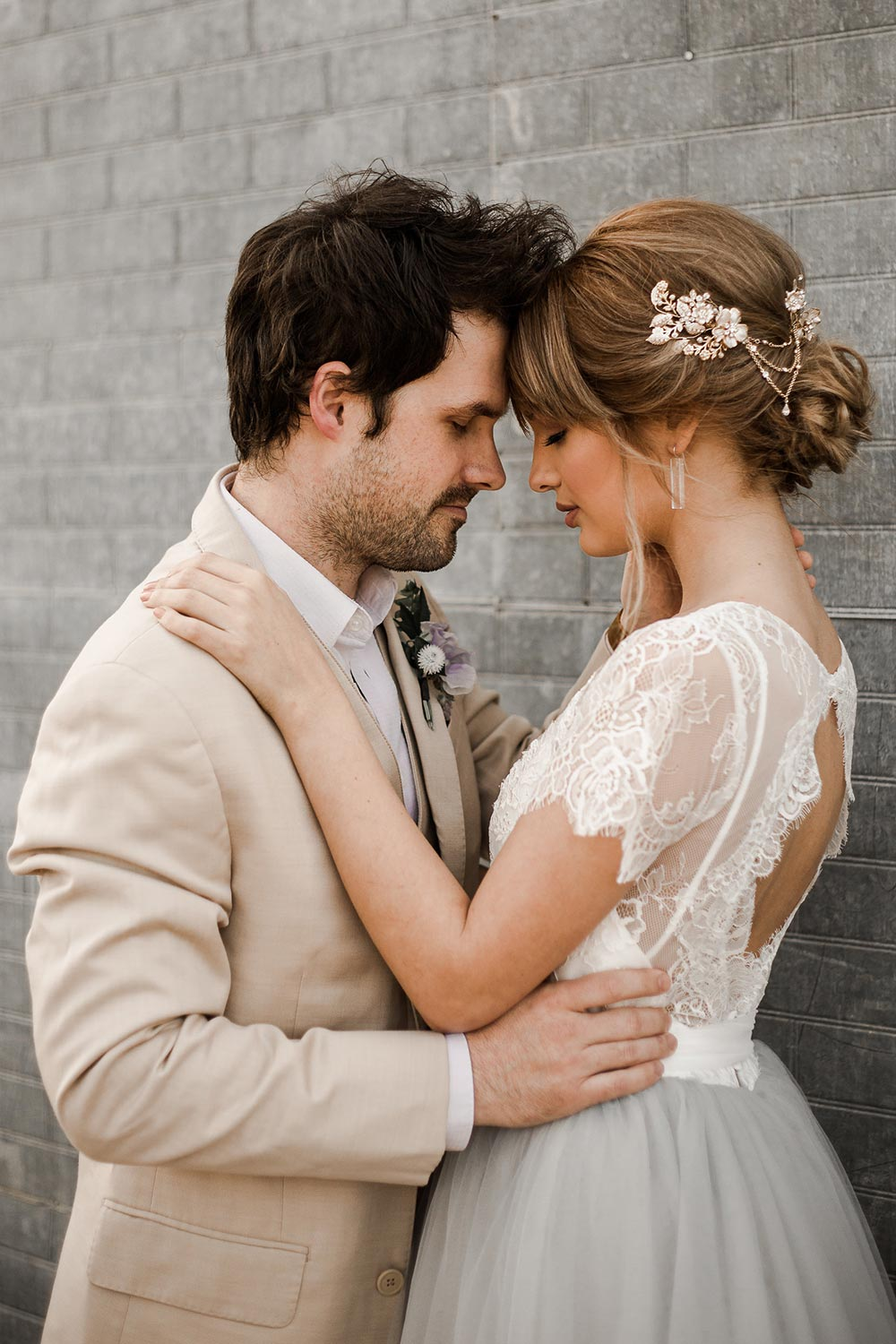 modern Grecian bridal hairpiece with updo