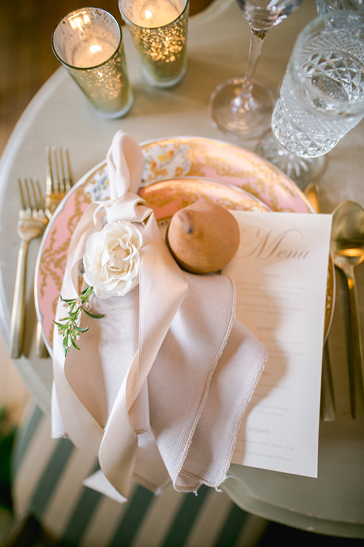 French inspired place settings - photo by Andy Seo http://ruffledblog.com/lush-romantic-wedding-at-carondelet-house