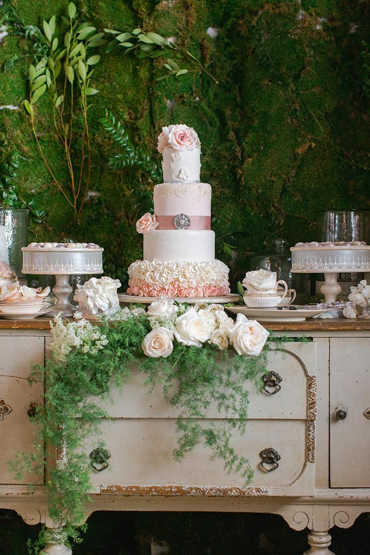 romantic pink wedding cakes - photo by Andy Seo https://ruffledblog.com/lush-romantic-wedding-at-carondelet-house