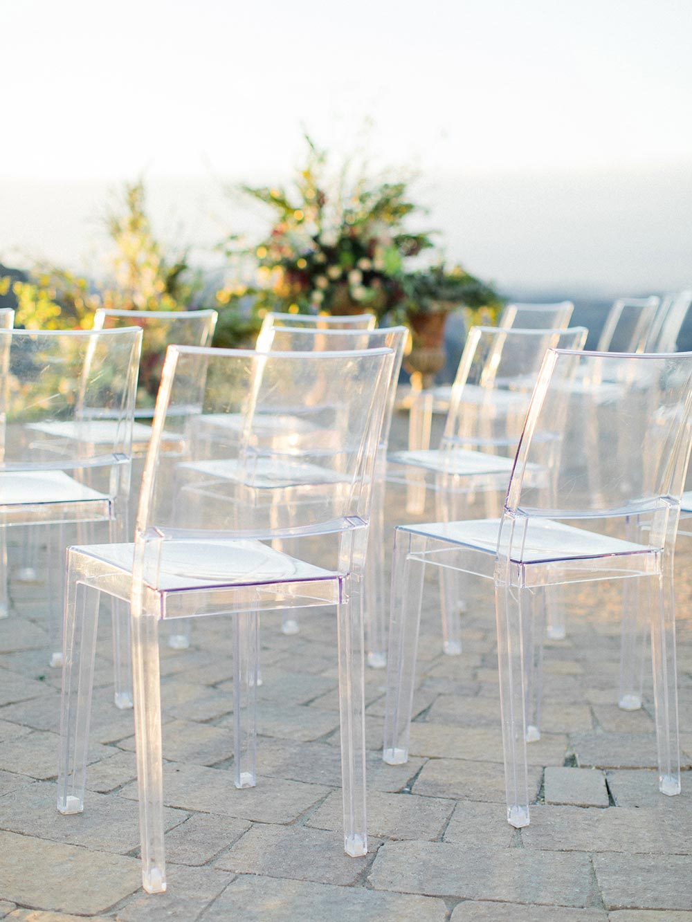 lucite wedding ceremony chairs