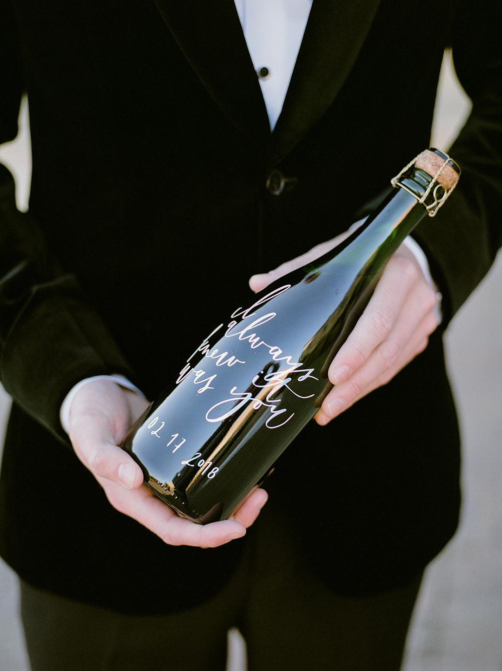 calligraphy champagne bottle