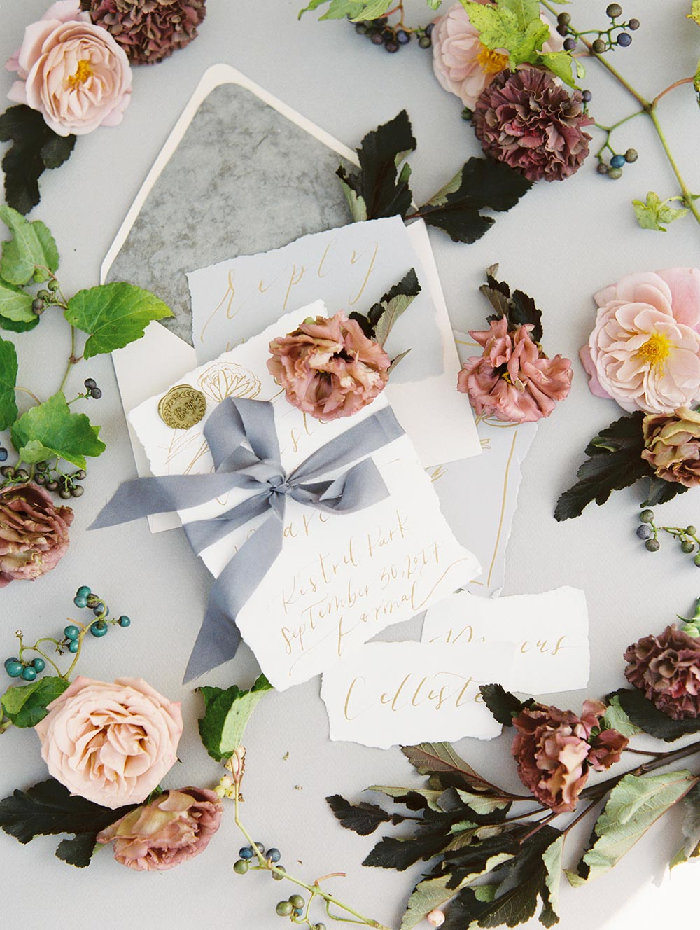 fine art wedding invitation suite with gold calligraphy
