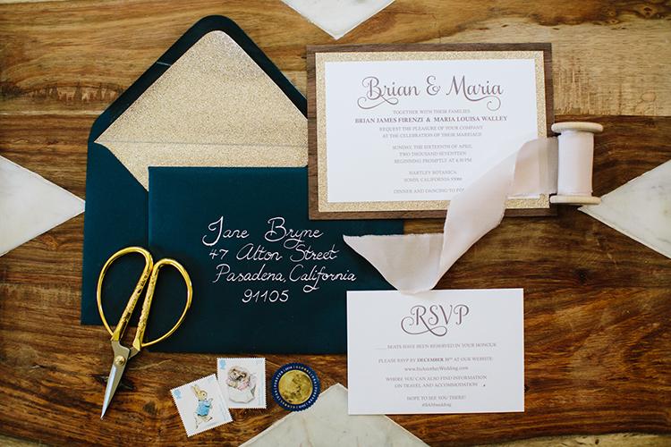 wedding invitations with wood elements - photo by Mirelle Carmichael https://ruffledblog.com/magical-midsummer-nights-dream-wedding