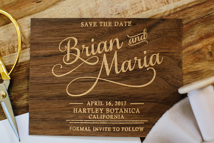 wooden wedding invitations - photo by Mirelle Carmichael https://ruffledblog.com/magical-midsummer-nights-dream-wedding