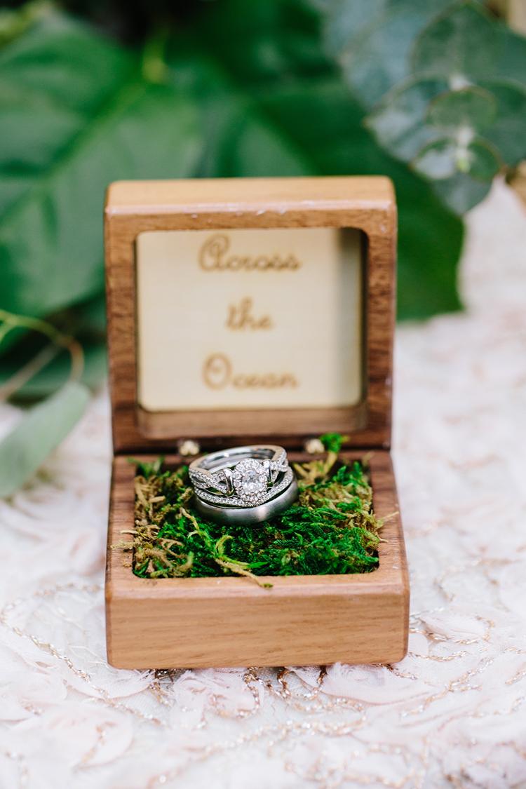 rustic wedding ring boxes - photo by Mirelle Carmichael https://ruffledblog.com/magical-midsummer-nights-dream-wedding