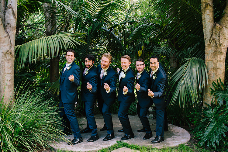 groomsmen in blue suits - photo by Mirelle Carmichael https://ruffledblog.com/magical-midsummer-nights-dream-wedding