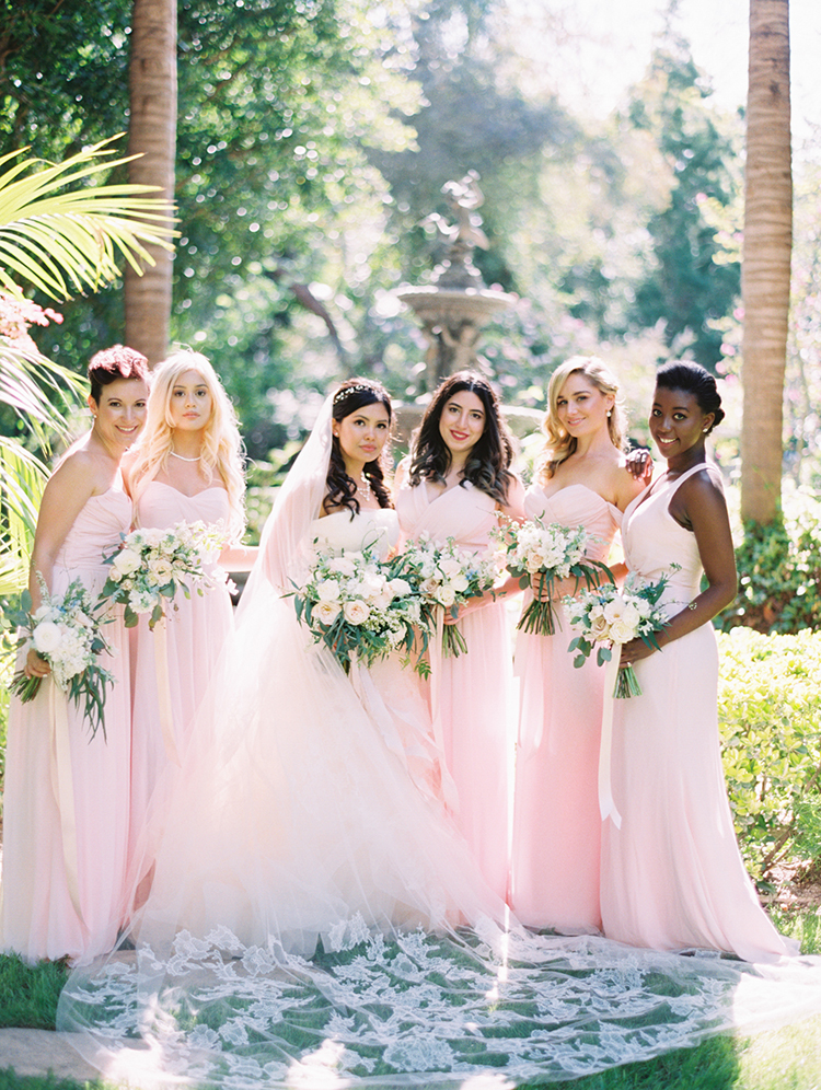 light pink bridesmaid dresses - photo by Mirelle Carmichael https://ruffledblog.com/magical-midsummer-nights-dream-wedding