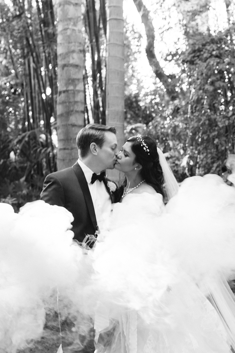 wedding photography with smoke bombs - photo by Mirelle Carmichael https://ruffledblog.com/magical-midsummer-nights-dream-wedding