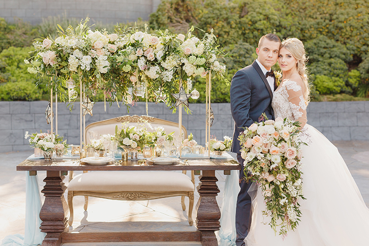 romantic wedding tables - photo by Kristen Booth Photographer https://ruffledblog.com/majestic-castle-wedding-inspiration-with-celestial-accents