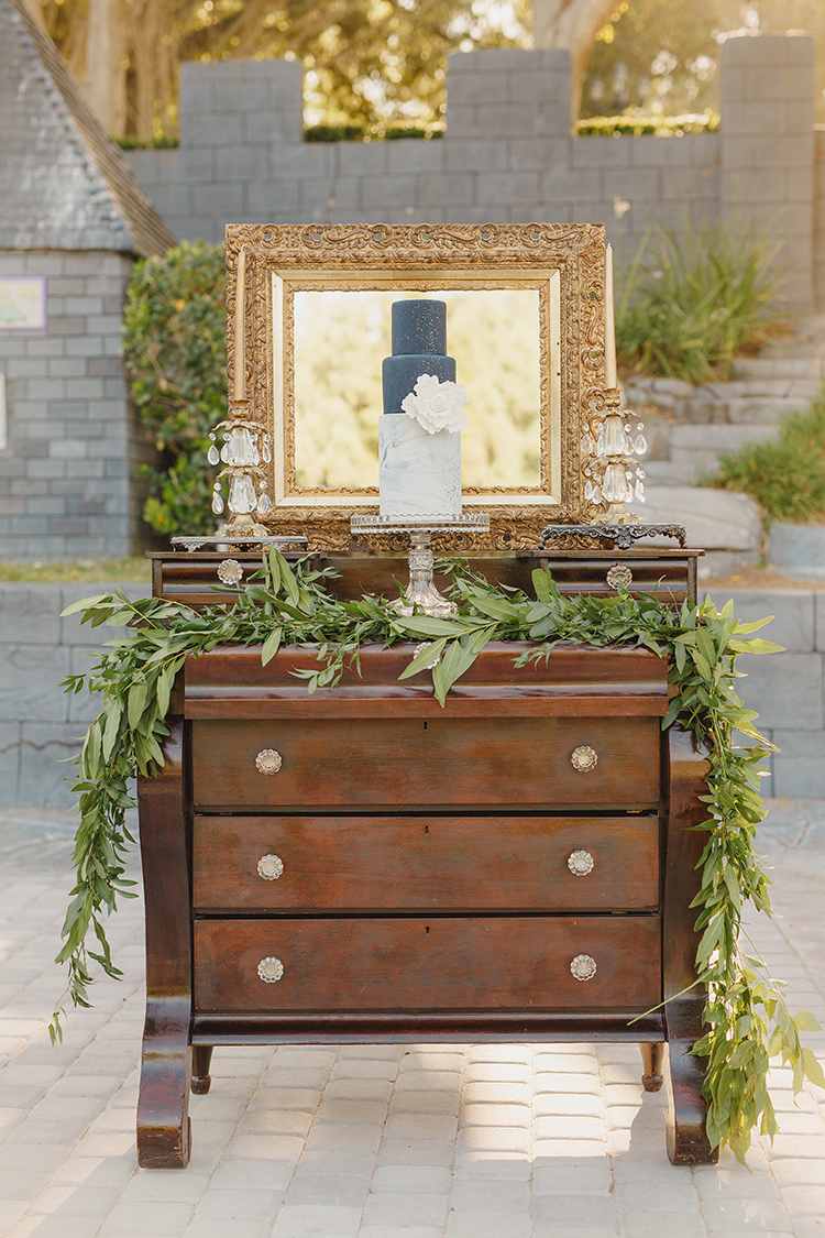 wedding dessert displays - photo by Kristen Booth Photographer http://ruffledblog.com/majestic-castle-wedding-inspiration-with-celestial-accents