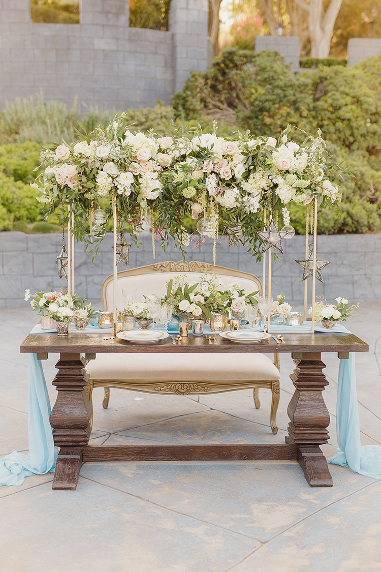 romantic garden wedding tables - photo by Kristen Booth Photographer http://ruffledblog.com/majestic-castle-wedding-inspiration-with-celestial-accents