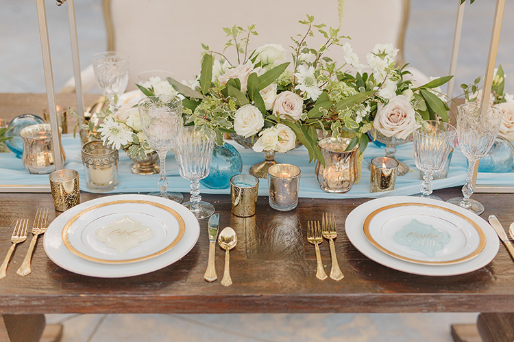 wedding place settings - photo by Kristen Booth Photographer http://ruffledblog.com/majestic-castle-wedding-inspiration-with-celestial-accents