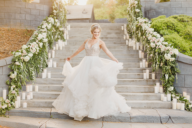 romantic wedding dresses - photo by Kristen Booth Photographer http://ruffledblog.com/majestic-castle-wedding-inspiration-with-celestial-accents