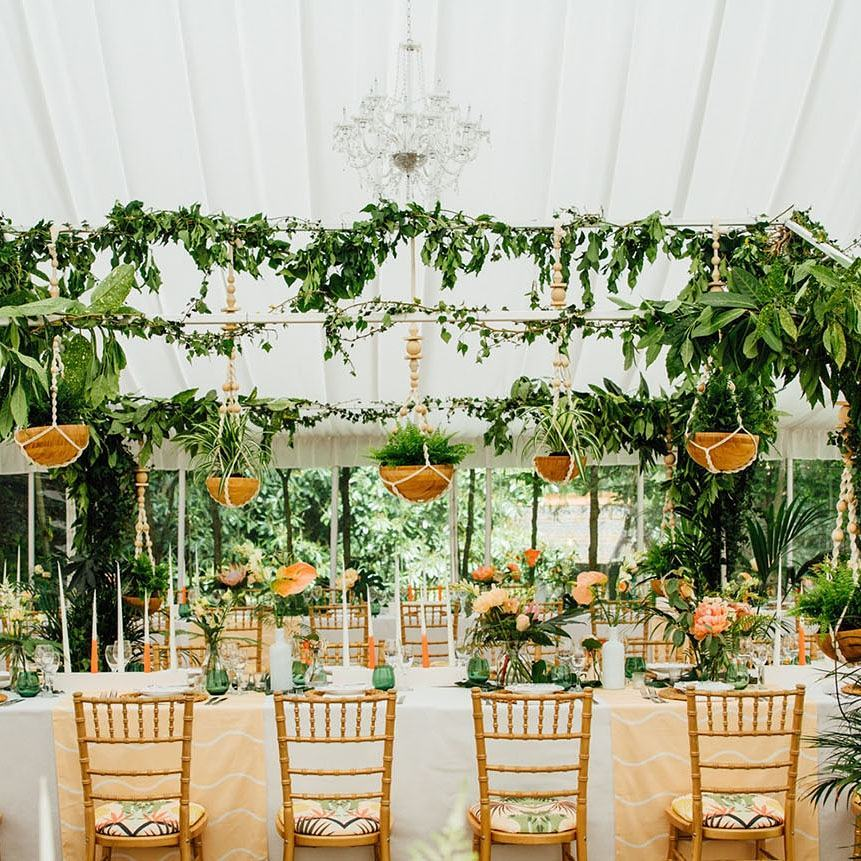 wedding with hanging planters - photo by Matt Parry Photography https://ruffledblog.com/10-times-neutral-colors-won-us-over