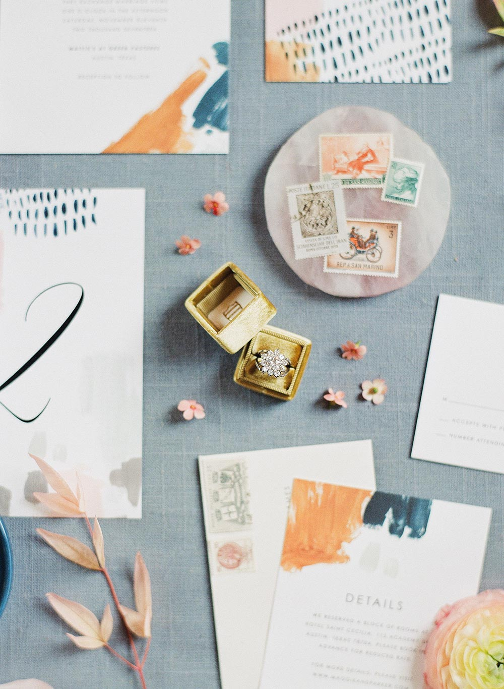 painterly wedding invitations and heirloom engagement ring