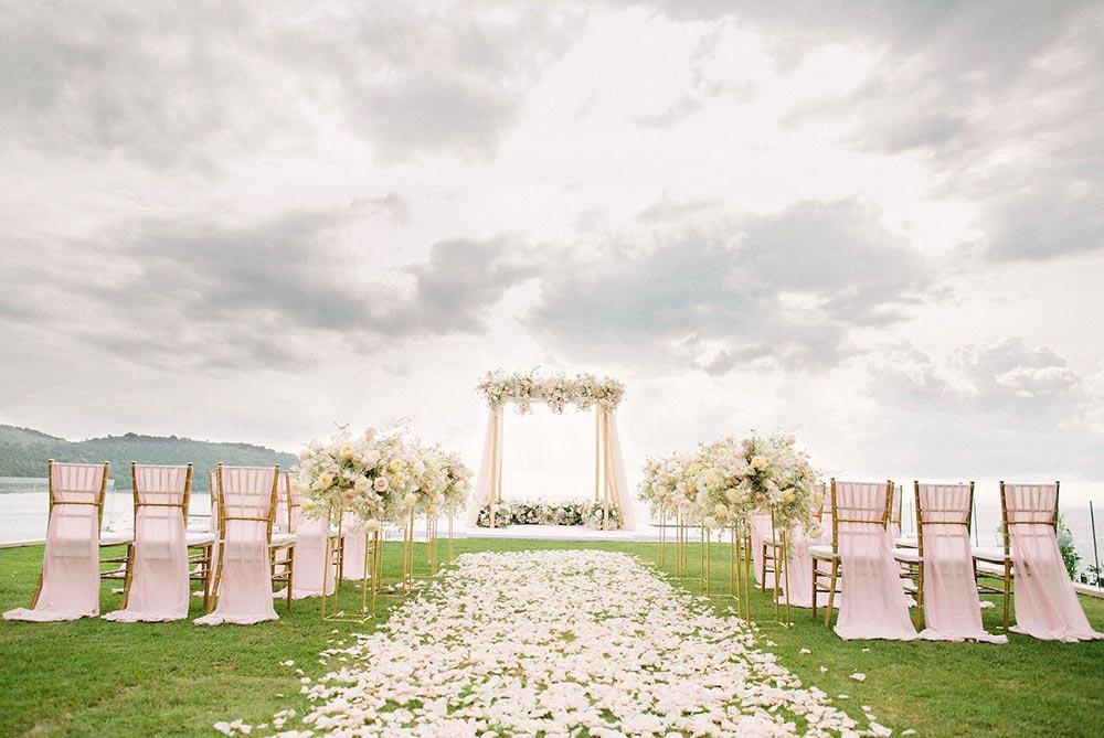 pink flower cabana wedding backdrop in Phuket destination wedding